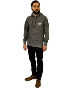 313 Zigzag Patterned Hoodie - Granitgrå