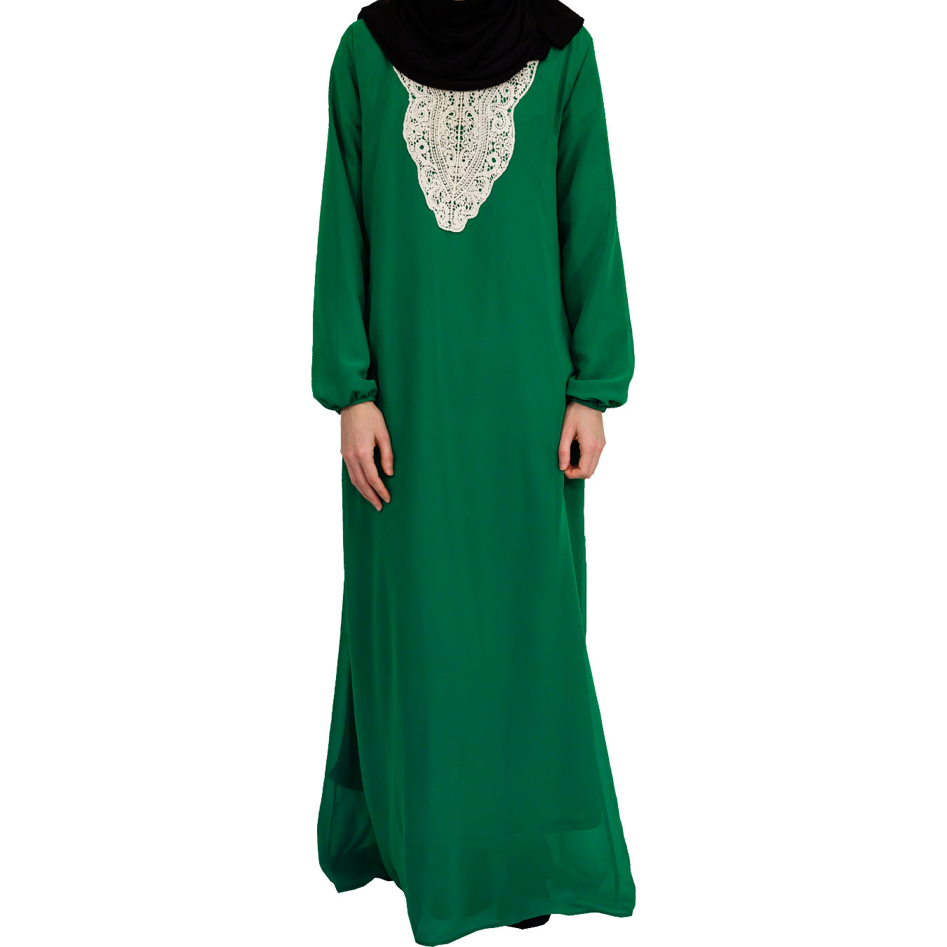 Abaya med spets - Grön