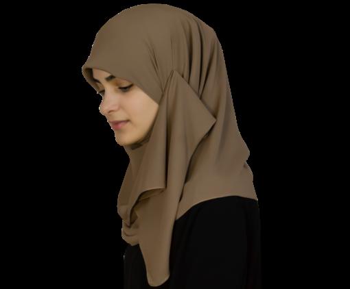 Kvadratisk mörkbeige hijab