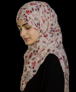 Flower beige/röd hijab